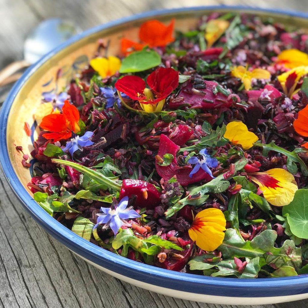 Om Rishikesh (rainbow salad with wild rice, beets, arugula, nasturtiums, borage flowers, and lime) - Foodzooka