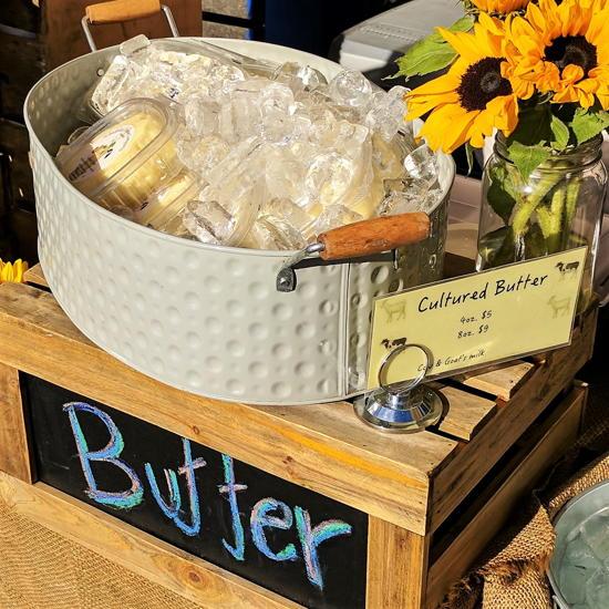 Achadinha Cheese Company - Farmers market butter display (Foodzooka)
