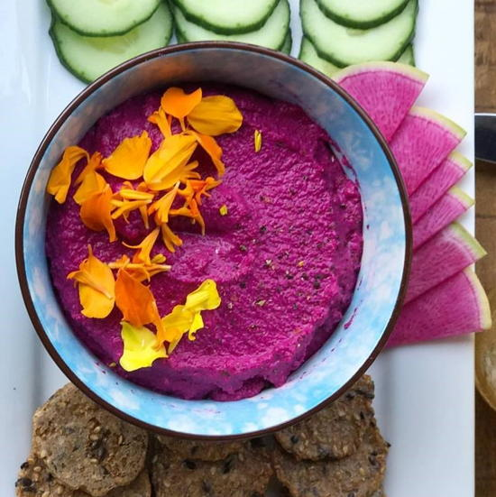 Cooking with Om (courtesy) - Almond beet hummus