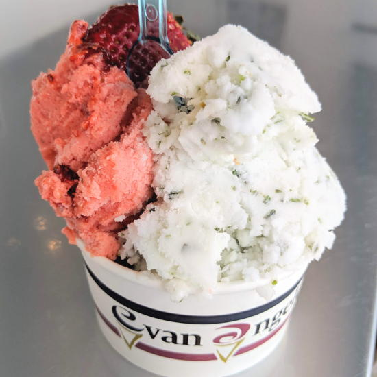 Evan Angelo's - Strawberry chamoy lemon basil sorbetto (Foodzooka)