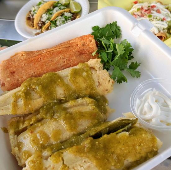 Los Tamaleros - Unwrapped tamales (Foodzooka)