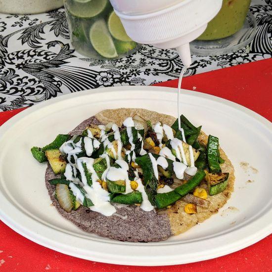 Casa - Rajas con Elote Taco with Blue and Yellow Masa Tortilla (Foodzooka)